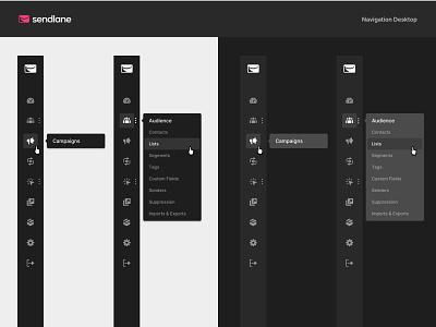 Sendlane Product – Navigation light theme dark theme navigation dashboard navigation component system ui design app design visual design marketing application dashboard design system product design