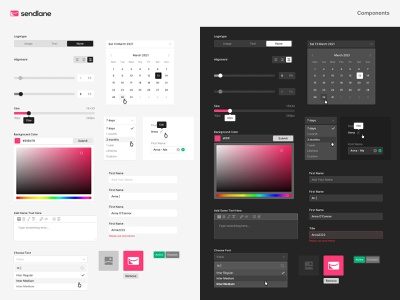 Sendlane Product – Design System typography system color system input styles buttons styles light theme dark theme smart design dashboards icons visual design component library balkan brothers design system component system marketing platform product design