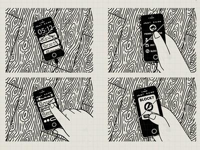 Blocked line art illustration hand illustration drawing sketch hand black and white line illustration message app message ui block phone art comic book comic