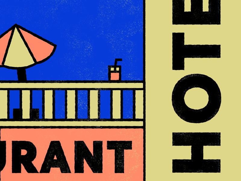 Hotel Restaurant line claire line illustration linework drawing holidays summer riviera france hotel illustration typography