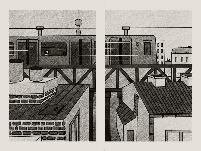 Berlin graphic novel street train ipad procreate drawing architecture city comic book comic berlin illustration