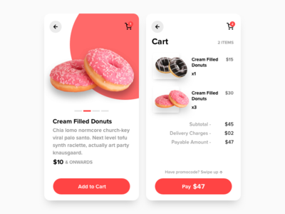 eCommerce Process for Donuts App webkul ecommerce design restaurant donuts pay payment icon product design cart page product page product cart chocolate choco marketplace store app ux ui ecommerce