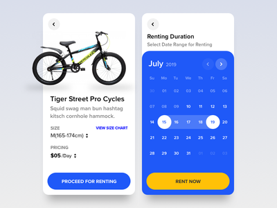 Rental Process for Bicycle icon webkul bicycle shop bicycle app bicycle ux ui mobile app weekly datepicker scheduling rental app ecommerce booking commerce booking product design product rental rent