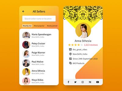 Seller Profile for Marketplace Store webkul icons icon store marketplace mobile profile page shopify ecommerce ux ui app product design profile seller