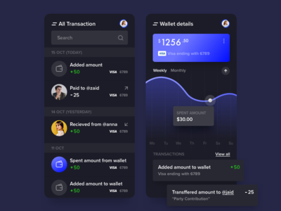 Wallet System - Dark Theme app design android app dashboard hybrid icons ios mobile product design profile statistics stats ui wallet wallet app webkul dark dark theme dark mode night mode