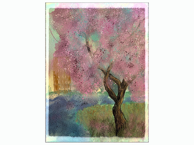 Spring in the City watercolor city view digital art art