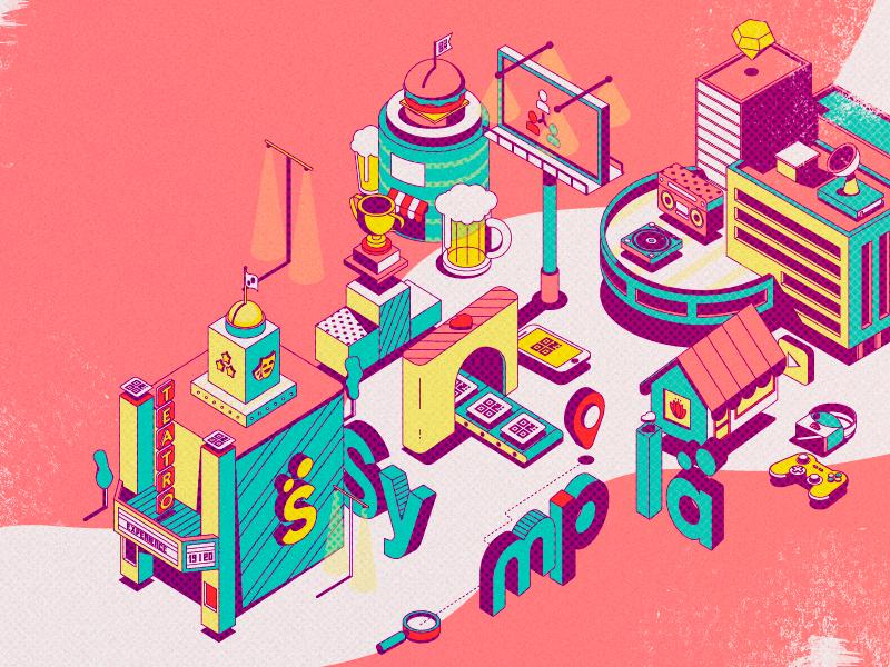 #gosympla city pink isometric illustration isometric art isometric design isometric design illustrator vector illustration