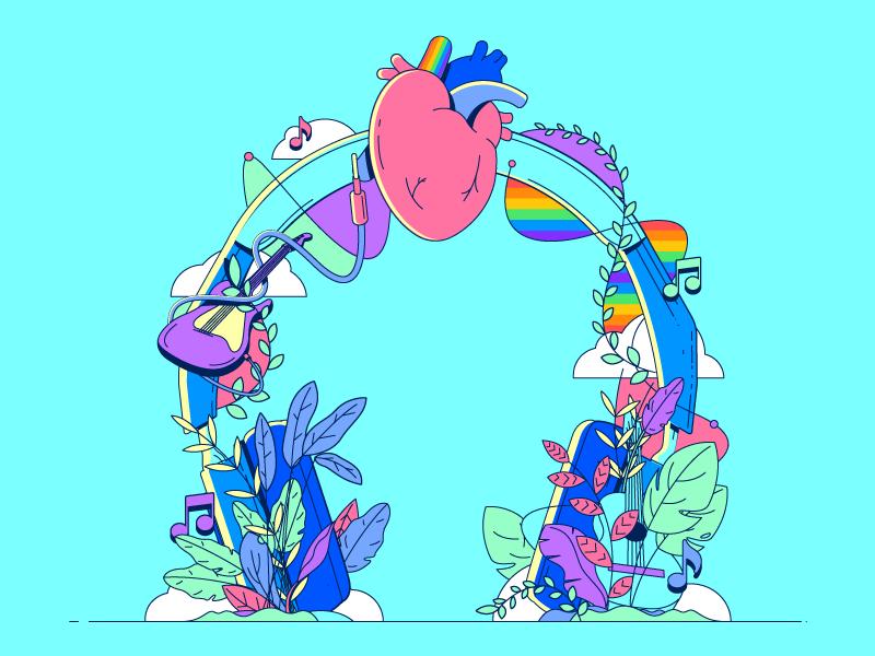 Diversity makes music better pride diversity heart headphone music design illustrator vector illustration