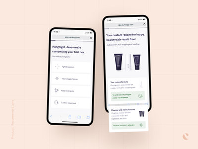 Product Recommendations loading sign up product page ecommerce onboarding ux ui mobile startup product design