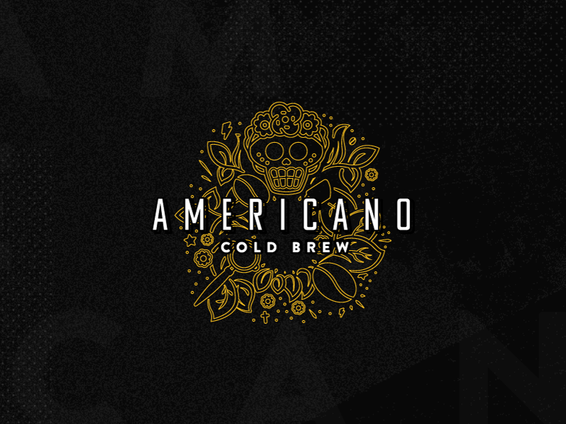 Americano Cold Brew cold brew branding coffee freelancer americana illustration logo logo design