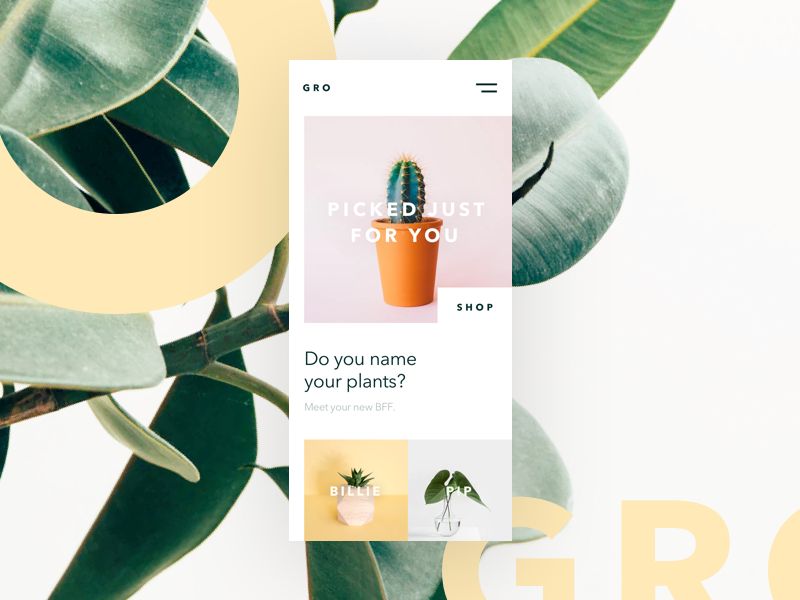 Gro - Personalized Plant Shop store shop web design product design beautiful photography freelance mobile personalized brand ios plant