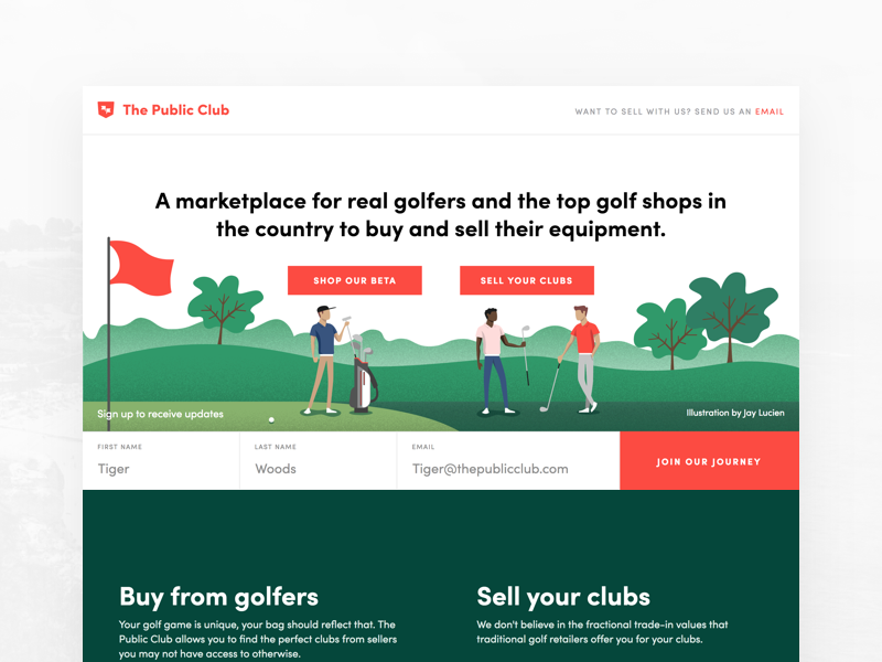 Landing Page for Golf Startup illustration splash ecommerce marketplace founder freelance product design landing page golf