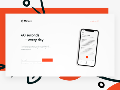 Minute 🦉 Landing Page branding phone minimal art japanese illustration ui sign up website landing page startup mindfulness journal