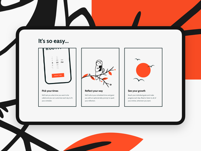 Minute 🦉Landing Page Illustrations illustration health startup launch mobile design website landing page branding ui  ux ui headspace product design mindfulness journal minute