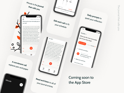 App Screenshots minute headspace mindfulness journal branding freelance marketing startup launch product design ux ui screenshots mobile app