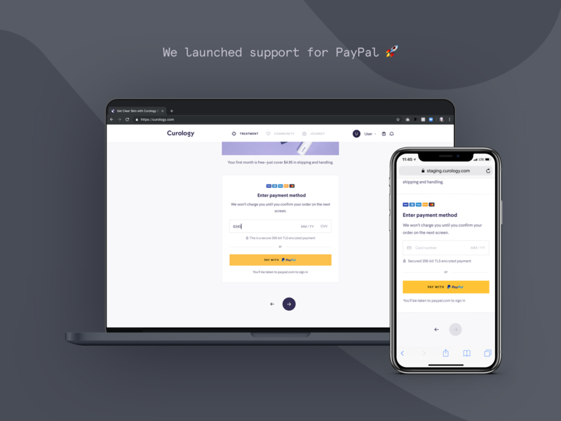 Curology x PayPal ux startup ui product design forms finance skincare curology payment