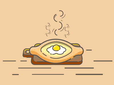Chesseboat dribbble food icon food illustration food cuisine georgia icons chesseboat adobe illustrator design lineart vector icon design icon illustration