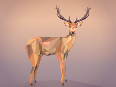 The Red Deer charechter illustration polygon art vector