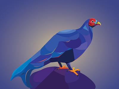 Caucasian grouse charechter illustration polygon art vector