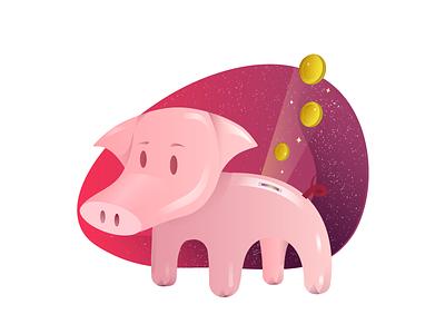 PIggy Bank sparkle design vector coin pink piggy illustration charecter