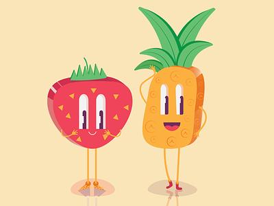 Lovers pineapple strawberry charecter art branding polygon vector illustration