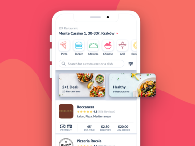 Food ordering app - Listing Page