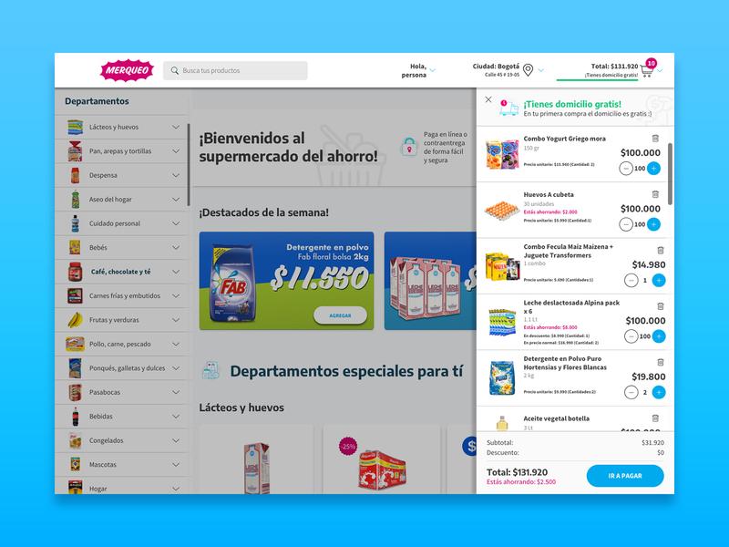 Shopping cart - Merqueo website ux design ux prototype ui  ux uiux interaction design user interface ui design