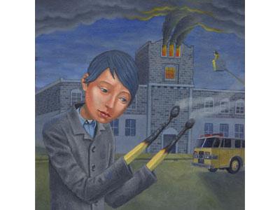 Shame oil painting smoke shame blue hair fire engine fire truck building fire match hands