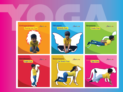 This Is From My Recent Project Of Designing Posters For Pre School Objective Design Was To Teach Yoga Poses Kids By Associating With Animals So