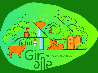 Illustration on life in Gir Forest (India)