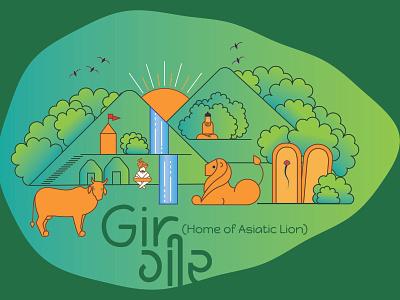 Illustration on life in Gir Forest (India) illustration gir forest