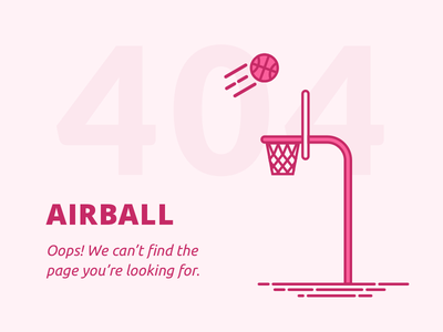 404 Page flat ui dribbble airball 008 daily ui page 404