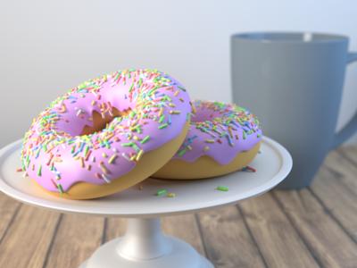 3D Donuts render modeling cup donut blender 3d