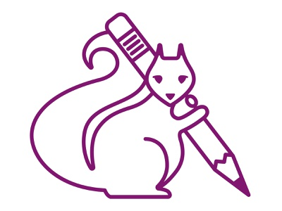 Purple Squirrel pencil squirrel vector line purple animal branding illustration