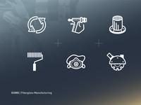 Manufacturing Line Icons branding fiberglass line manufacturing icon set