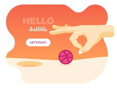 Hello Dribbble! first shot ball hole game hand dribbbler debut