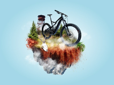 Bike Photo Manipulation With Local Lookout Tower electric bike manipulation photo tower lookout mountain bike