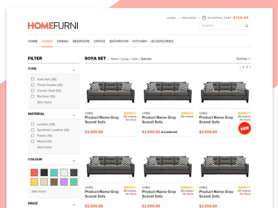 Product List Screen product list listing filter cart web design store web shopping furniture shop e-commerce