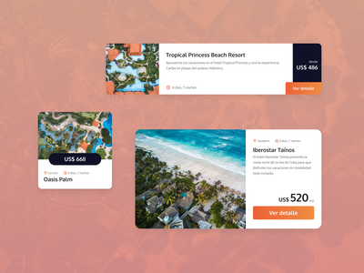 Vacation Resort Product Cards hotel travel ui design web design card website ui