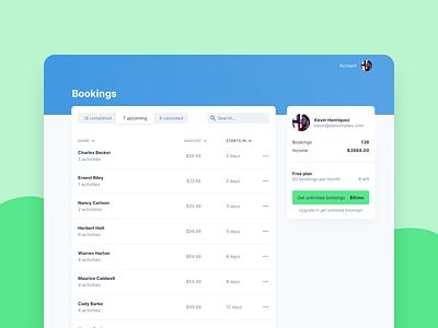 Bookings Dashboard dashboard ui app inter ui table product ui dashboard