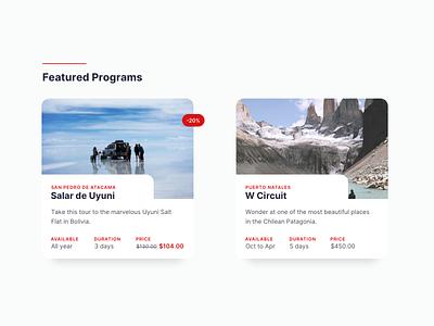 Featured Program Cards list ecommerce travel inter website web design web card ui