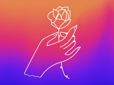 A Rose For You hand rose gradients illustration
