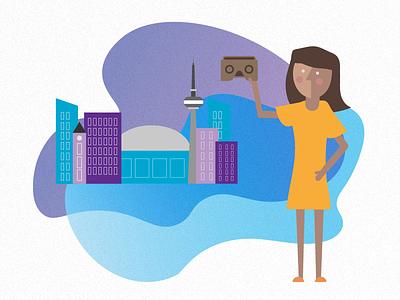 Toronto character woman cardboard illustration tech