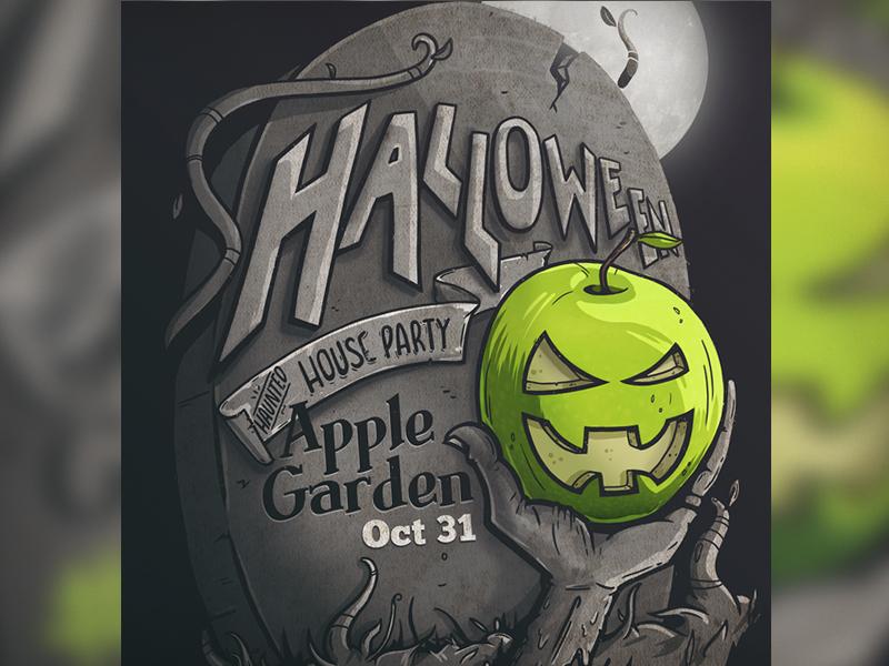 Applegarden Crop halloween apple grave illustration flyer poster party event gravestone tombstone typography jack-o-lantern