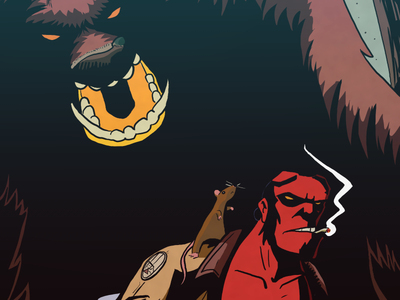 Hellboy Vs The Gruffalo gruffalo hellboy digital illustration art comics