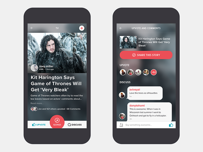 GONG - IPhone App ux ui iphone interface interactive graphic design card application news
