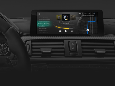 Design Idea for IVI navigation map music music player car uxui ui ux in vehicle infotainment vehicle