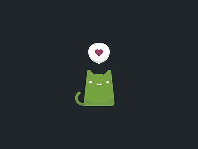 love u — Matcha Cat cat icon illustrator heart cute animal valentines flat