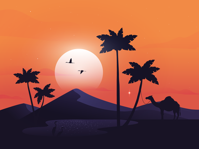 A Little Oasis Under the Hot Sun sun oasis vector madebymarko landingpage uidesign life star palmtree palms warm colors warmth hot calm landing illustration birds camel desert sunset