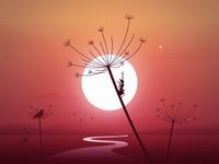 Hot summer mood board sunday madebymarko croatia feelingood calmness sunrise birds ant summer party vector sunset stars illustration summertime calm mood crickets summer hotsummer
